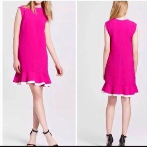 Victoria Beckham Pink Ruffle Hem Dress New Sz M